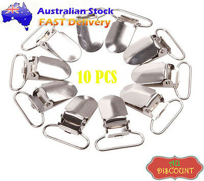 10x Lead Metal Suspender Paci Pacifier Ribbon Clips Hook Holder Lanyard Chain