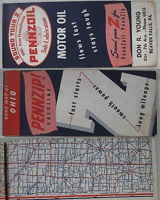1930's~Ohio Road Map~Pennzoil~Don Young Beaver Falls, PA