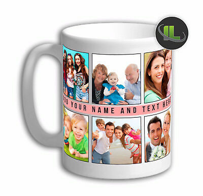 Personalised Photo Collage Mug Cup. Customise with Your Own Photos & Text.IL5980