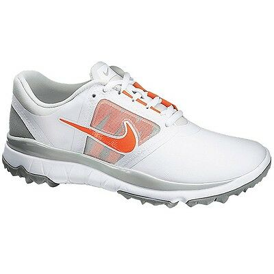 New Women's Nike Fi Impact Golf Shoes White/orange/grey 611509-100 - Pick A Size