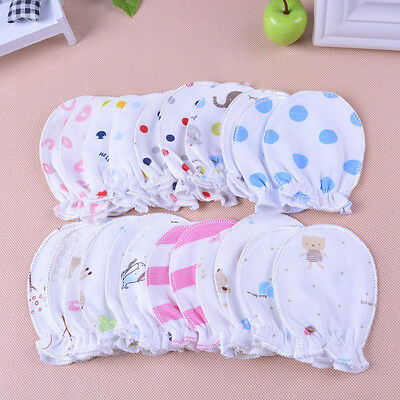 Newborn Boys Girls Infant Soft Cotton Handguard Anti Scratch Mittens Gloves 2pcs