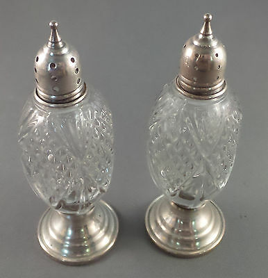 Modernistic Sterling Silver and Glass Salt & Pepper Shakers