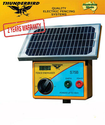 New Thunderbird S75B Solar Electric Fence Energiser, 10 km Self Contained Unit