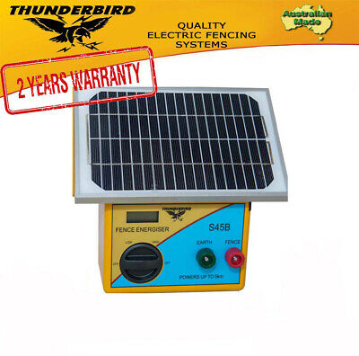 New Thunderbird Solar Electric Fence Energiser S45B 5 km Self Contained