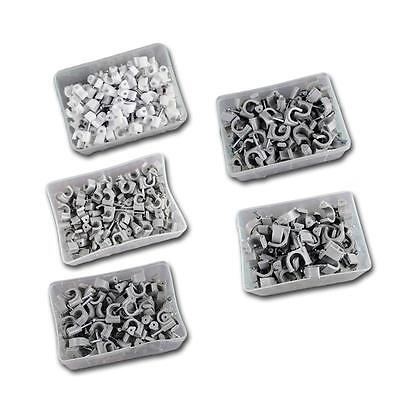100 pieces Round Tough Quality Cable Clips with fixing nails, Various Sizes clip