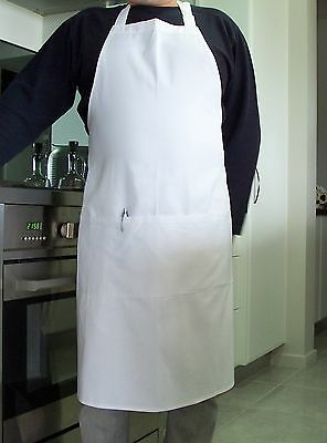 Bib White Apron ( 2 FRONT POCKETS ) - 100% Cotton Drill