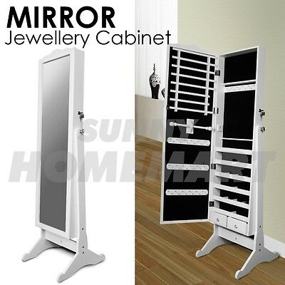 White Mirror Jewellery Cabinet Box Full Length Wooden Euro Style Two Drawers