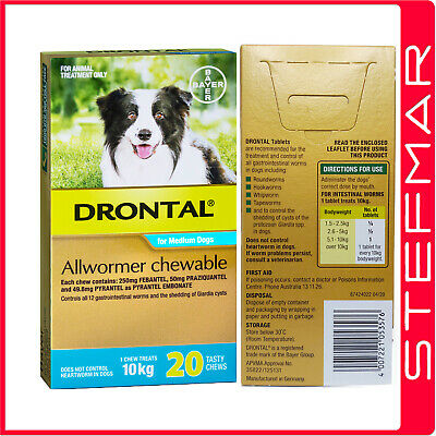 Drontal Allwormer for Dogs 10kg Chews 20Pack