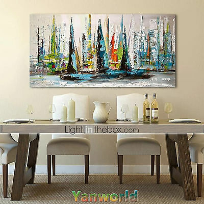 Hand-painted oil painting Modern Art On Canvas,Abstract sailboat No framed