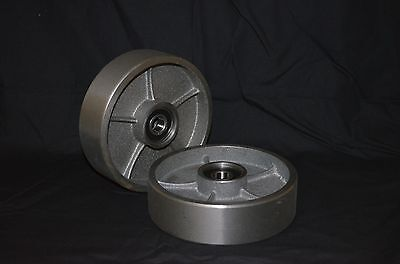 A Pair of Brand New Pallet Jack Steel Steer Wheels With Bearings