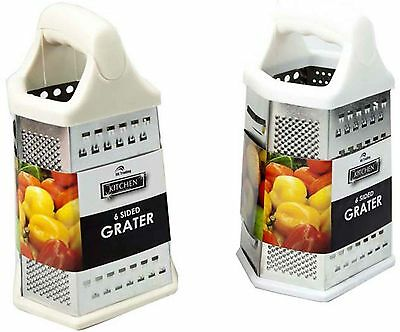 6 Sided S/steel Grater Cheese Vegetable Grater Kitchen Utensil Cream/white Avail