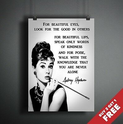 AUDREY HEPBURN POSTER with Beauty Quote For Hair Salon Home Decor, A3 A4 Print