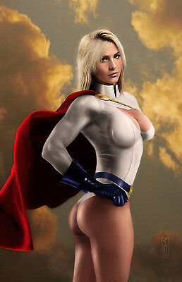 Power Girl Original 11x17 Fine Art Print signed by artist Scott Harben