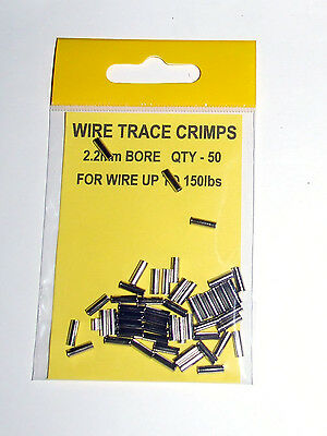Wire Trace Crimps 2.2mm for up to 150lb pack of 50 - Sea Predator Fishing
