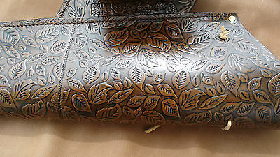 UK made leather archery side quiver with embossed Autumn leaves,L/H,R/H,LARP