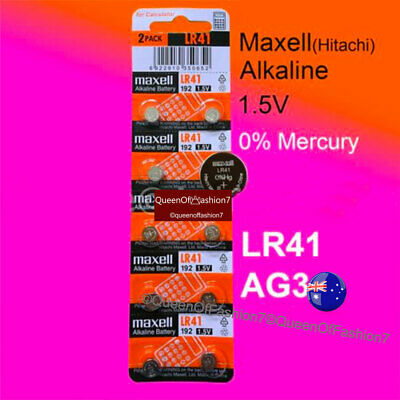10 x Maxell 0%Hg LR41 (192/AG3/392) Battery 1.5V Alkaline Button Cell Batteries