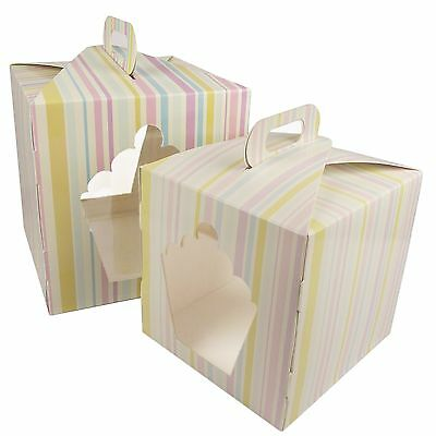 "5x 8"" 10"" Giant Cupcake Boxes with Handle and Window! Cup Cake Stripey White!"