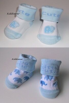 Newborn Baby Boy's Socks (6.5-9 cm) white blue cotton rich gift bag 1 pair CUTE
