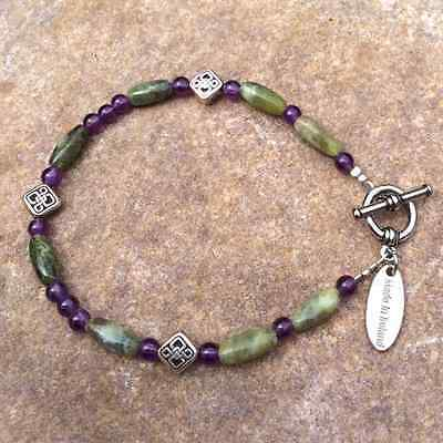 Connemara marble amethyst celtic bracelet. Irish made jewelry boxed traditional