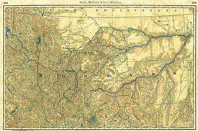 81 Montana Wagon Roads vintage historic antique map painting poster print