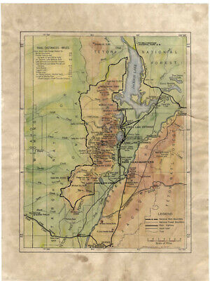 120 Teton National Park WY vintage historic antique map painting poster print