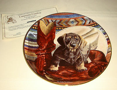 SALLY MAXWELL Love Puppies Boots Hat & Cute Lil' Dachshund LONESOME COWBOY Plate
