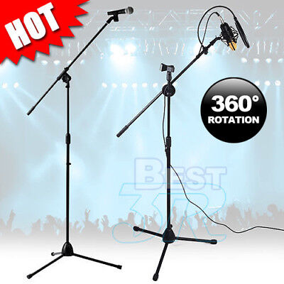 Adjustable Microphone Stand Mic Holder Tripod Two Clip 1 to 2 M Telescopic Boom
