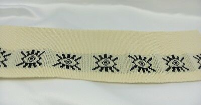 Cotton ribbed collar cream ivory aztec design eyes 2 pieces width 9cm