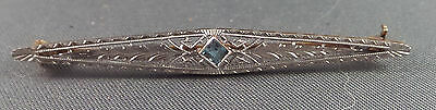 14K Filigree Pin with a Light Blue Stone
