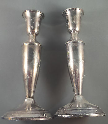 Classical Design Pair Towle Silverplate Candlesticks