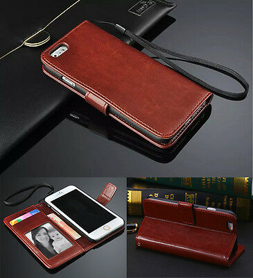 Genuine Real Leather Flip Wallet Case Cover For iPhone Samsung Galaxy Models
