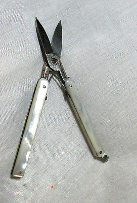 19th century MOTHER of PEARL Fold A Way Sewing Scissors ;Original ANTIQUE