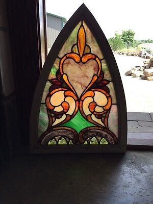 Sg 240 Antique Stain Glass Gothic Arch Window