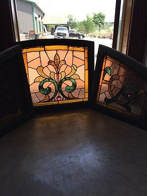 Sg 249 Three-Piece Antique Stain Glass Arch Window Set