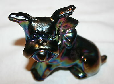 Imperial Glass  Dog With Bow Carnival Glass Dog Vintage Scottie Dog Signed