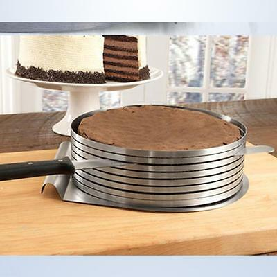 2 x High Quality Stainless Steel Adjustable Layer Cake Slicer Mould 24cm to 30cm