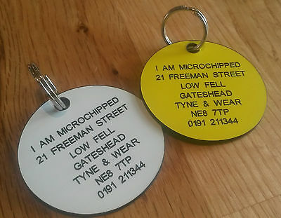 Pet Dog Cat ID Collar Tags Laser Engraved Free Multiple Sizes & Colours Free P&P