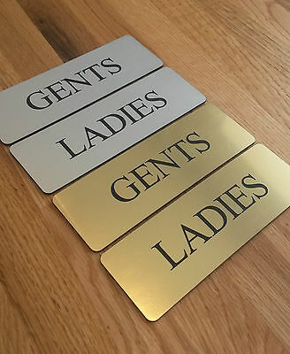 Ladies and Gents Toilet Signs with Self Adhesive Backing Brushed Gold or Silver