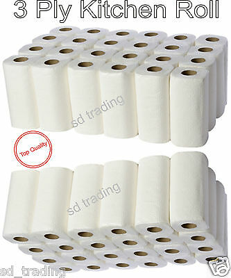 24 White Puresoft 3 Ply Kitchen Roll Embossed Cleaning Wipe Tissue Paper