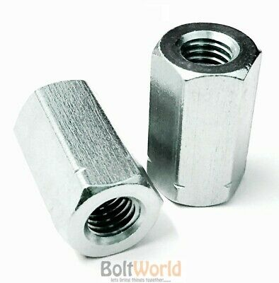 Threaded Rod Bar Stud Hexagon Hex Connector Nut Zinc Long Nuts Bzp M6 To M20 Bw