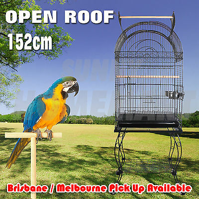 1 x New Large Black Arched Roof Pet Bird Parrot Canary Cage Stainless Castors