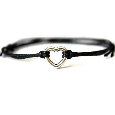 Silver Love Heart Charm Cord Friendship Wish Bracelet Black Red Blue Gift Card