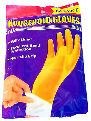 6 Pairs Large Kitchen Washing Up Gloves Marigold Yellow Rubber Gloves Kitchen