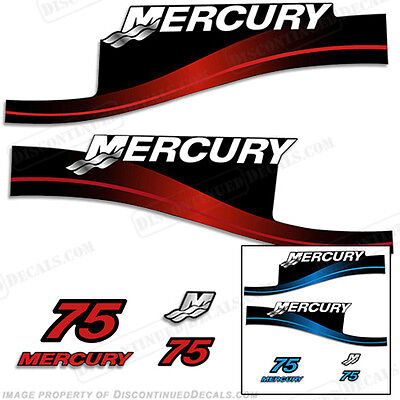 Mercury 75hp Two Stroke Outboard Decal Kit Blue or Red Available 1999-2004