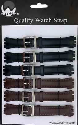 6 x Wholesale Job Lot Swatch Leather 17mm Black And Brown Watch Straps