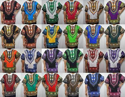 Dashiki Shirt African  Unisex Hippie Blouse Top Mens Women One Size