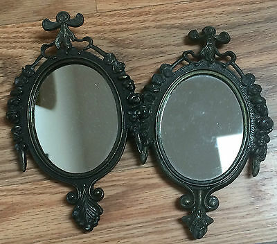 Set of 2 Vintage Plated Metal Frame Mirrors Made in Italy