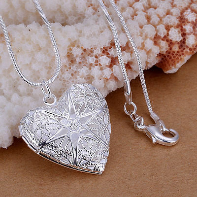 925 Sterling Silver 3D Filigree Heart Photo Locket Pendant Chain Necklace
