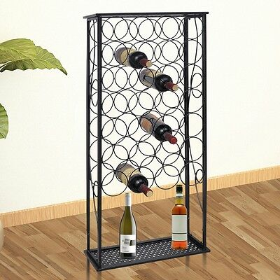 28 Metal Wine Bottle Holder Collection Shelf Cabinet Bottom Storage Rack Stand