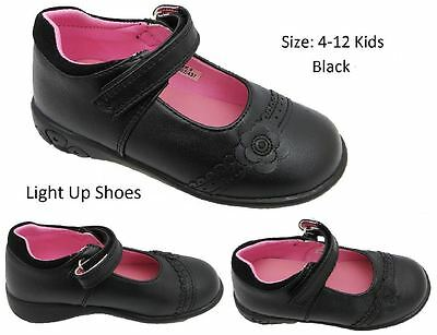 LIGHT UP Girls Chatterbox Shelly Formal Matt Black Mary Jane School Shoes